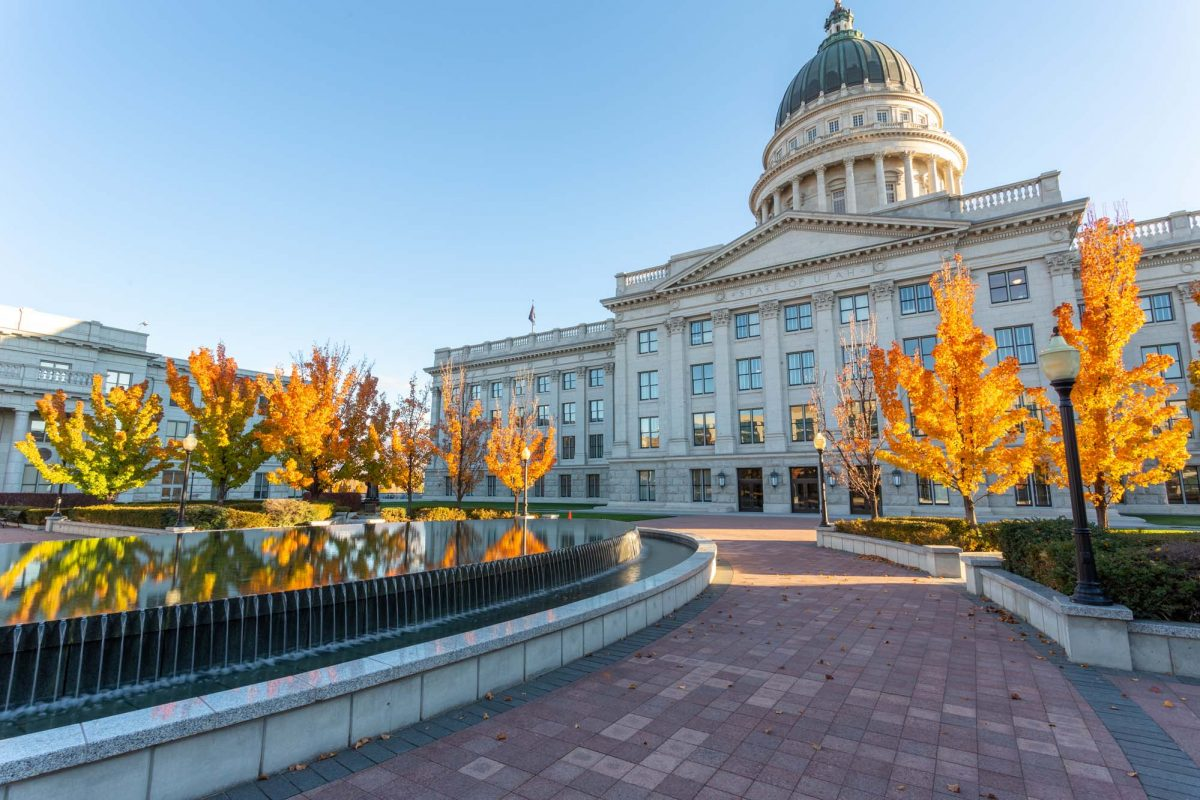 Utah State Capitol with Fall Leaves